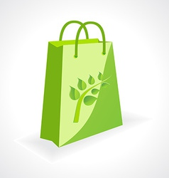 green bag with ecology symbol vector image