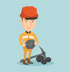 miner holding coal in hands vector image
