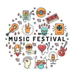 Music festival poster template musical collage vector image vector image