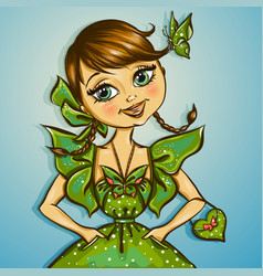 pretty spring girl with butterfly vector image vector image