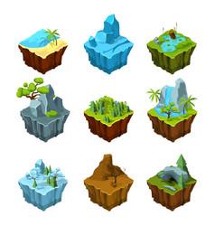 Rock fantasy islands for computer games isometric vector