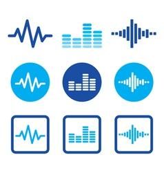 Sound wave music blue icons set vector image
