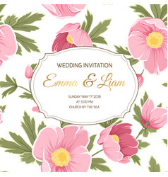 wedding invitation anemone sakura peony flowers vector image