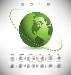 2016 calendar green globe dotted vector