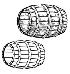 a barrel keg in engraving style design element vector image