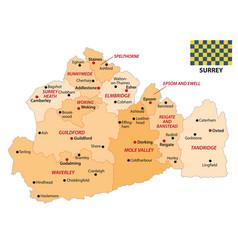 administrative map english county surrey vector image