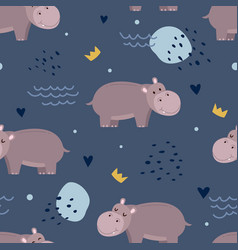 adorable hippopotamus seamless pattern vector image