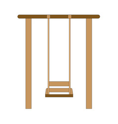 an old wood swing hanged on a tree isolated vector image