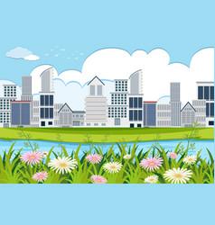 an outdoor scene with skyscraper vector image