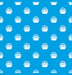 basket donate pattern seamless blue vector image