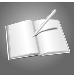 Blank white realistic opened book and pen writing vector image