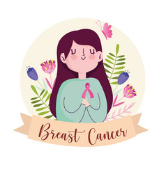 breast cancer cute woman with ribbon flowers vector image