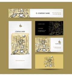 Business cards design coffee house sketch vector