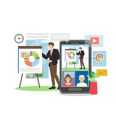 Business presentation webinar on mobile device vector