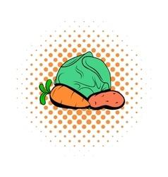 Cabbage carrot potatoe comics icon vector image