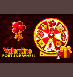 Cartoon st valentine lucky roulette spinning vector