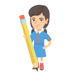 caucasian kid girl standing with a huge pencil vector image