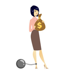 Chained woman with bag full of taxes vector