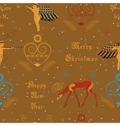 Christmas golden angels Festive seamless pattern vector image