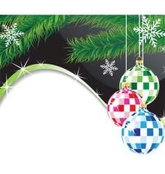Christmas spheres and fur tree branch vector image