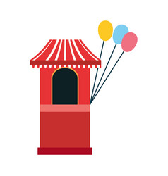 circus booth with balloons carnival festival vector image