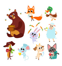 Collection cute cartoon animals with meal vector