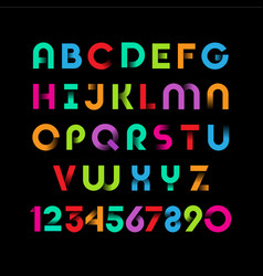 Color ribbon alphabet vector
