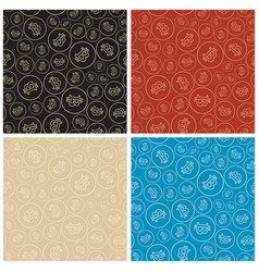 Color seamless patterns with bitcoins vector