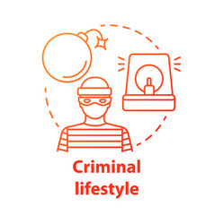 Criminal lifestyle red concept icon committing vector