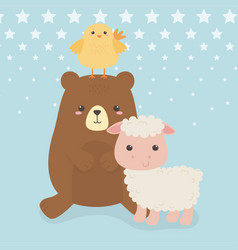 Cute bear and sheep with chick animals farm vector