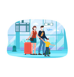 cute happy family with suitcases walking together vector image