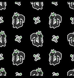 Cute punk rock skunk and skull on black background vector