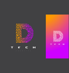 D letter logo technology connected dots letter vector