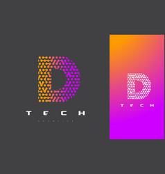 D letter logo technology connected dots letter vector