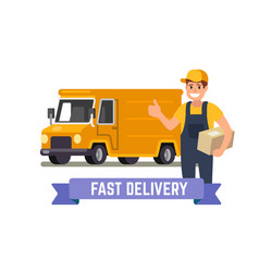 delivery van and worker vector image