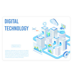 digital technology landing page isometric vector image