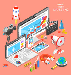 Digital video marketing flat isometric vector