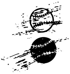 Distressed baseball ball on white background vector