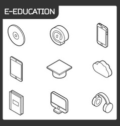 e-education outline isometric icons set vector image