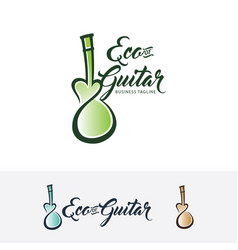 eco guitar logo design vector image