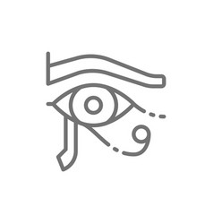 Eye of horus ancient egyptian moon line icon vector