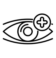 eye plus vision icon outline style vector image