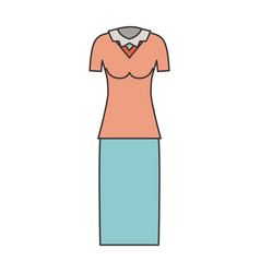female clothes with blouse and skirt in colorful vector image vector image