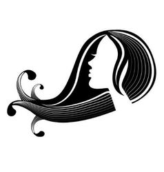 female silhouette in profile and hair vector image
