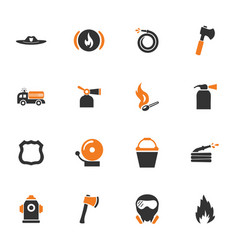 fire brigade icons set vector image