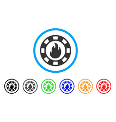 Fire casino chip icon vector