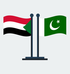 flag of pakistan and sudanflag stand vector image