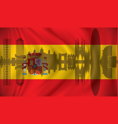 flag of spain with barcelona skyline vector image