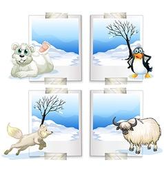 Four kind arctic animals vector