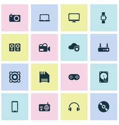 gadget icons set with router loudspeaker phone vector image